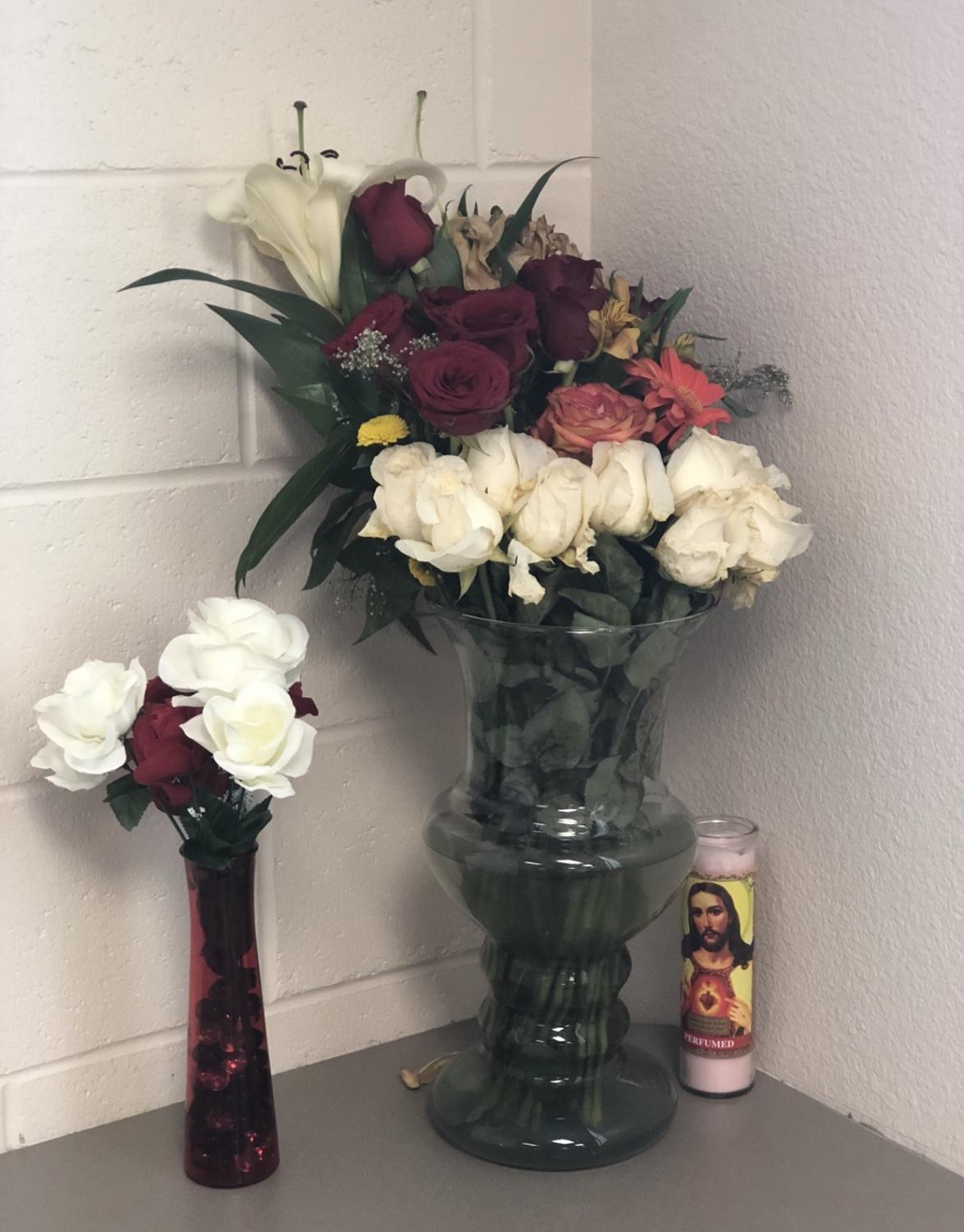 A Bouquet and candle from the vigil