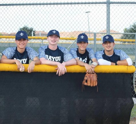 Colin Macapagal, Patrick Brickman, Lucas Viancos, and Daniel Del Otero are enjoying their senior fall season of baseball.