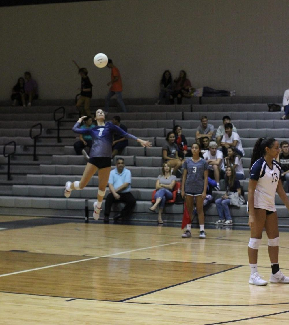 Yuliana Amador (11) prepares to spike the ball in the